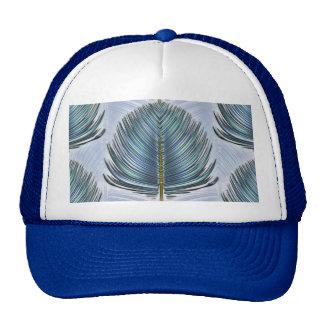 Pluma estilizada del pavo real - azul gorro de camionero