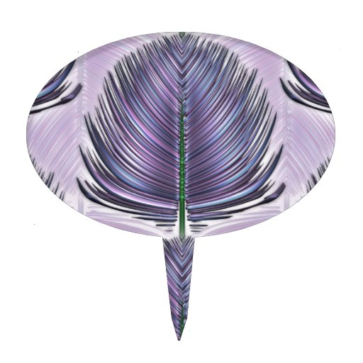 Pluma estilizada del pavo real - púrpura decoración para tarta