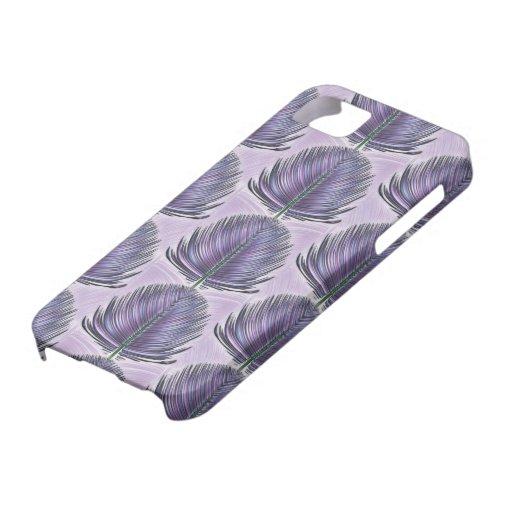 Pluma estilizada del pavo real - púrpura iPhone 5 funda