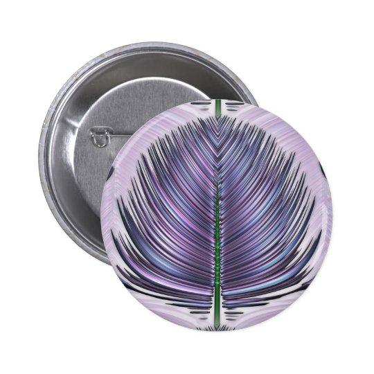 Pluma estilizada del pavo real - púrpura pin redondo de 2 pulgadas