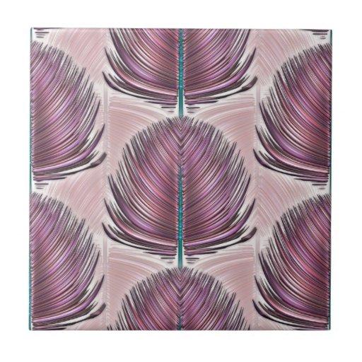 Pluma estilizada del pavo real - rosa azulejos cerámicos