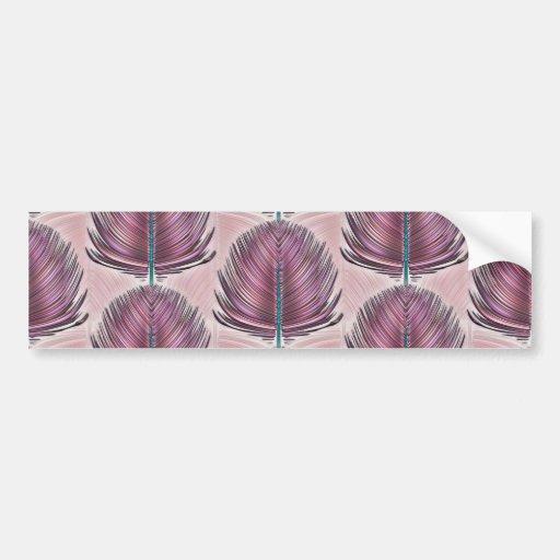Pluma estilizada del pavo real - rosa pegatina para auto