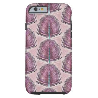 Pluma estilizada del pavo real - rosa funda de iPhone 6 tough
