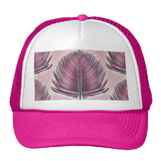 Pluma estilizada del pavo real - rosa gorras