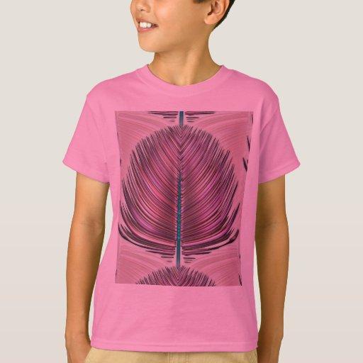 Pluma estilizada del pavo real - rosa playera