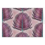 Pluma estilizada del pavo real - rosa tarjetón