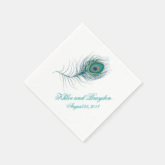 Pluma imaginaria el | del pavo real que se casa servilleta de papel