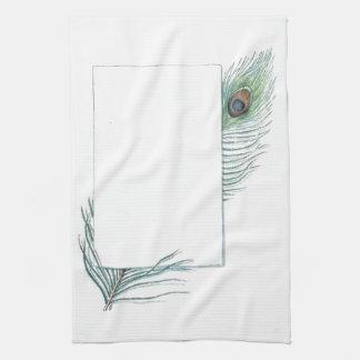 Pluma inspirada colorida del pavo real del vintage toalla