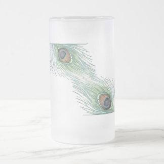 Pluma inspirada colorida del pavo real del vintage taza de cristal
