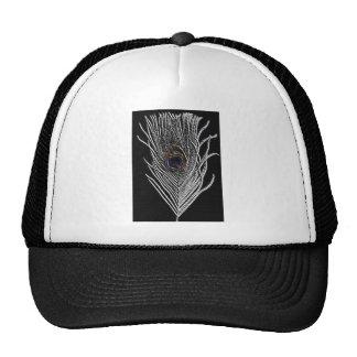 Pluma negra del pavo real gorros bordados