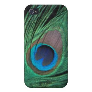 Pluma negra i del pavo real iPhone 4 protectores
