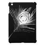 Pluma negra y blanca del pavo real iPad mini carcasa
