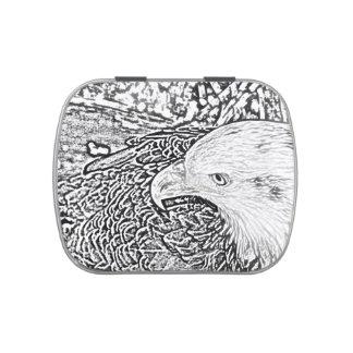 pluma oblicua del animal del pájaro del bw del latas de dulces