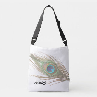 Pluma personalizada del pavo real bolsa cruzada
