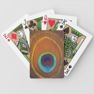 pluma pintada a mano original del pavo real cartas de juego