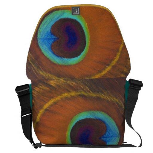 pluma pintada a mano original del pavo real de lad bolsa de mensajería