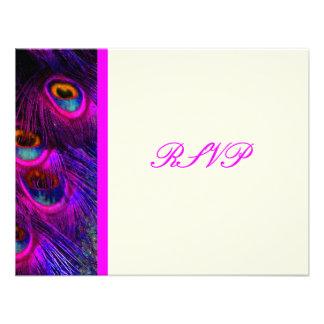 Pluma psicodélica rosas fuertes del pavo real de P Anuncio Personalizado