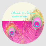 Pluma psicodélica/rosas fuertes del pavo real de etiquetas redondas