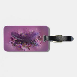 Pluma púrpura de Fairys Etiquetas De Equipaje