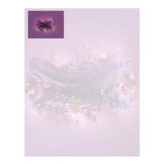 Pluma púrpura de Fairys Membrete Personalizado