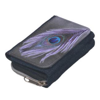 Pluma púrpura del pavo real en negro