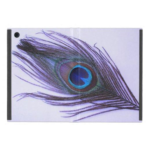 Pluma púrpura del pavo real en púrpura iPad mini protectores