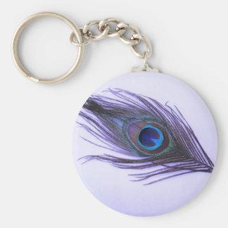 Pluma púrpura del pavo real llavero