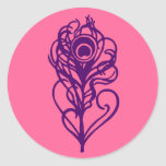 Pluma púrpura del pavo real pegatinas redondas