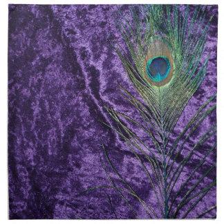 Pluma púrpura del pavo real servilleta