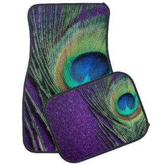 Pluma púrpura imponente del pavo real alfombrilla de auto