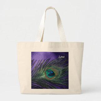 Pluma púrpura sedosa del pavo real bolsa tela grande