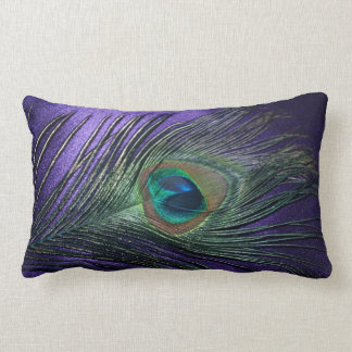 Pluma púrpura sedosa del pavo real cojín lumbar