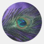 Pluma púrpura sedosa del pavo real etiqueta
