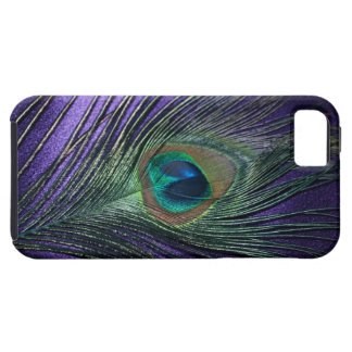 Pluma púrpura sedosa del pavo real iPhone 5 Case-Mate protectores