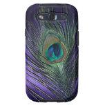 Pluma púrpura sedosa del pavo real samsung galaxy s3 fundas