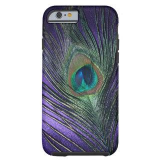 Pluma púrpura sedosa del pavo real funda de iPhone 6 tough