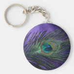 Pluma púrpura sedosa del pavo real llavero