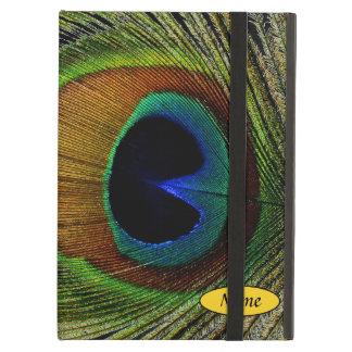 Pluma real del pavo real de la foto macra en iPad