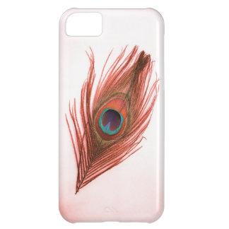 Pluma roja del pavo real en el iPhone blanco 5 Bar Funda iPhone 5C