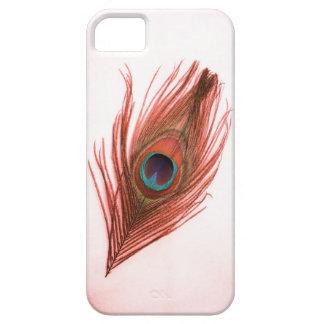 Pluma roja del pavo real en el iPhone blanco 5 Funda Para iPhone SE/5/5s