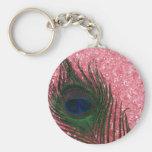 Pluma rosa clara rocosa del pavo real llaveros personalizados