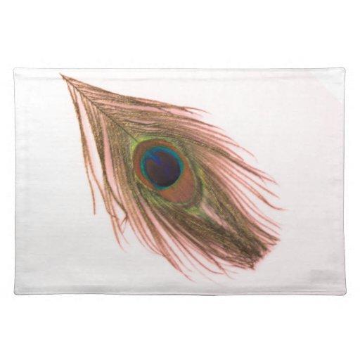 Pluma rosada del pavo real mantel