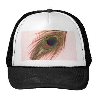 Pluma rosada P del pavo real Gorra