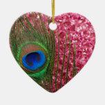 Pluma rosada rocosa del pavo real ornamento para reyes magos