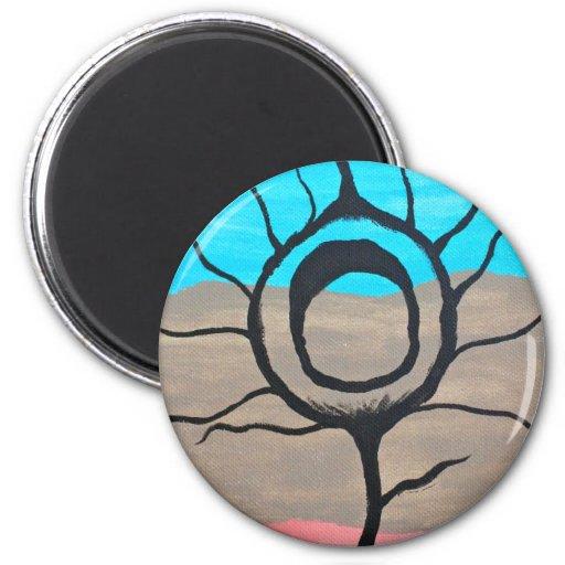 Pluma tricolora del pavo real imán redondo 5 cm