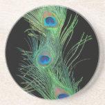 Pluma verde con el práctico de costa negro de la p posavasos personalizados