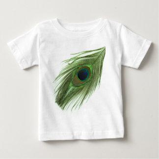 Pluma verde D del pavo real Playera De Bebé