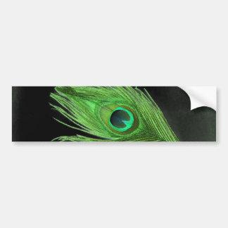Pluma verde del pavo real en negro pegatina para auto