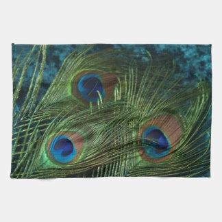 Pluma verde del pavo real toallas de mano