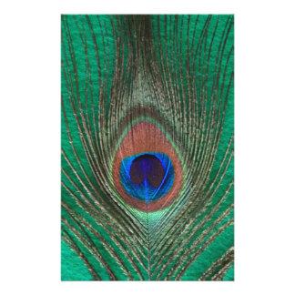 Pluma verde del pavo real  papeleria